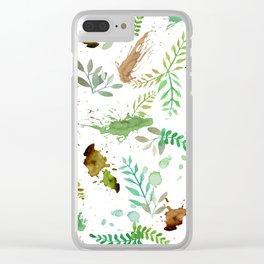 Green Leaves, Paint Splatter, Pattern Clear iPhone Case