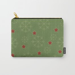 Snowflakes and stars - green and red Carry-All Pouch