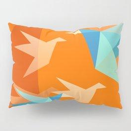 Orange Paper Cranes Pillow Sham