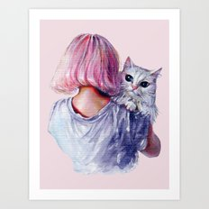 Pink Cuddles Art Print