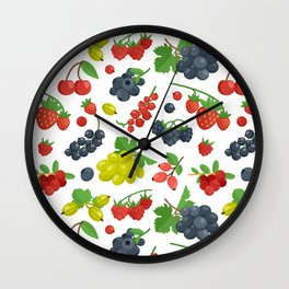 Colorful Berries Pattern Wall Clock