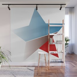 Ombre red white and blue star Wall Mural