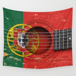 Old Vintage Acoustic Guitar with Portuguese Flag Wall Tapestry
