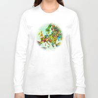 europe Long Sleeve T-shirts featuring Europe Splatter Map by Gary Grayson