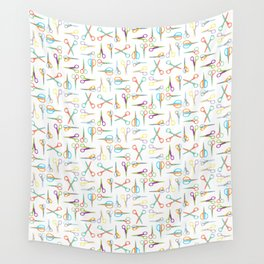 Scissor Pattern Using Complementary Colors Wall Tapestry