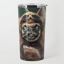 Pete the Pilot Pug Travel Mug
