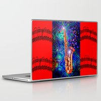 saxophone Laptop & iPad Skins featuring Saxophone by JT Digital Art