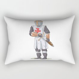 Knight Templar in armour with sword. Rectangular Pillow