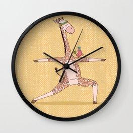 Yoga Giraffe Warrior Asana Wall Clock