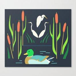 Mallard + Great Egret + Cattails Canvas Print