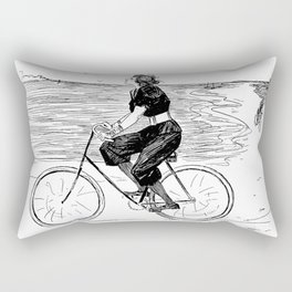 A Lovely girl is riding a bike at the beach - hand drawn retro style illustration Rectangular Pillow