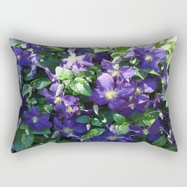 Blue Clematis Rectangular Pillow