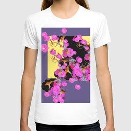 Decorative Pink Morning Glories on Grey & Yellow Art Design T-shirt