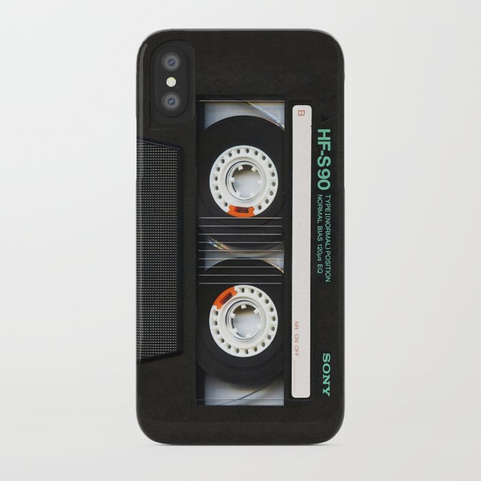 retro classic vintage black cassette tape iphone case