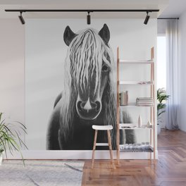 Horse Black and White Painting Wall Mural