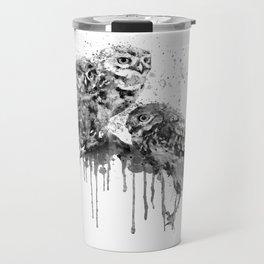 Three Cute Monochrome Owls Travel Mug