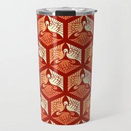 Japanese Cranes, Mandarin and Light Orange Travel Mug