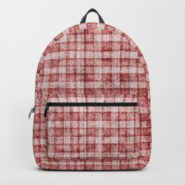 Dusty Pink Gingham Plaid Faux Suede Backpack