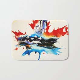 Vintage Canada Maple Leaf Travel Love Watercolor Bath Mat