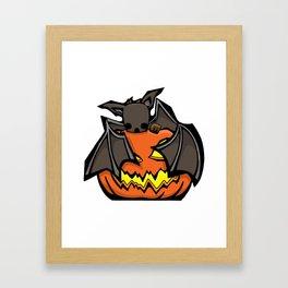 Bat and Jack O'Lantern | Halloween Series | DopeyArt Framed Art Print