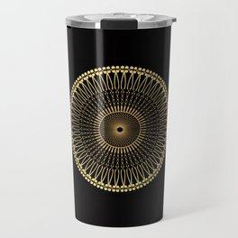 DEEM bright warm gold mandala on black Travel Mug