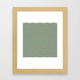 Dark Forest Green and White Chevron Zigzag Stripes Framed Art Print