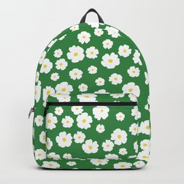 Green White Floral Pattern Retro Floral Print Wildflowers Backpack