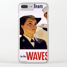 Vintage poster - Enlist in the Waves Clear iPhone Case