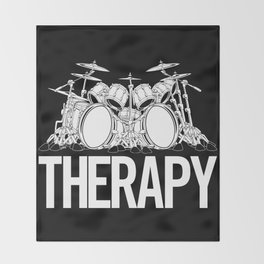 Drummers Therapy Drum Set Cartoon Illustration Throw Blanket