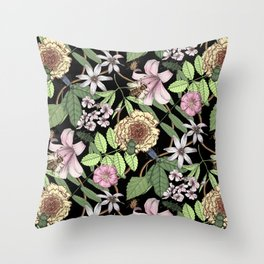 lush floral pattern with bee and beetles I Throw Pillow