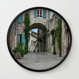 France Photography - Street From A Town In Vézénobres Wall Clock