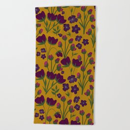 Purple and Gold Floral Seamless Illustration Beach Towel