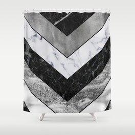 Shimmering mirage - grey marble chevron Shower Curtain