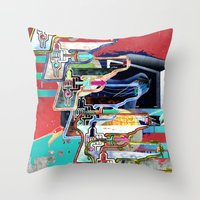 tv Throw Pillows featuring TV by Jerry Shirts