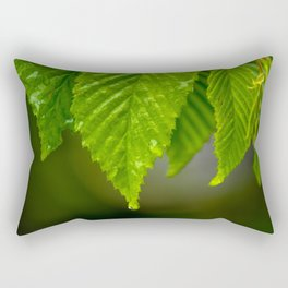 Waterdrops on a leaf Rectangular Pillow