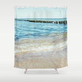 Wave Closeup At Blue Sea Shower Curtain