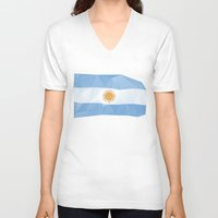argentina V-neck T-shirts featuring Argentina Flag by Favio Torres
