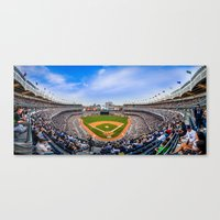 yankees Canvas Prints featuring New York Yankees - Color by Bust it Away Photography