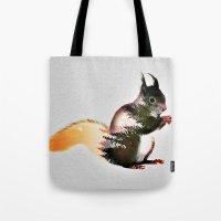 squirrel Tote Bags featuring squirrel by KrisLeov