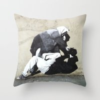 banksy Throw Pillows featuring BANKSY  by Art Ground