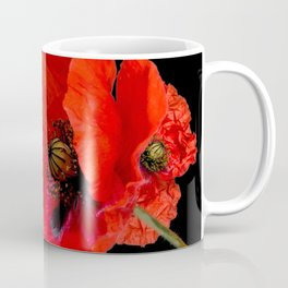 Poppies on Black Coffee Mug