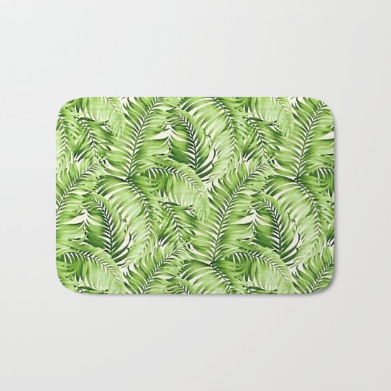 Greenery palm leaves Bath Mat