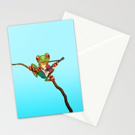 Tree Frog Playing Acoustic Guitar with Flag of Mexico Stationery Cards