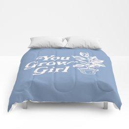 You Grow Girl Blue & Cream Comforters