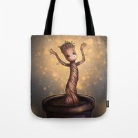 groot Tote Bags featuring Baby Groot by bookotter