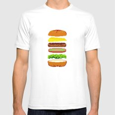 Cheeseburger Mens Fitted Tee SMALL White