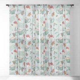 Cottagecore Christmas Sage Sheer Curtain