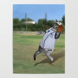 Baseball Catcher Kitten Poster