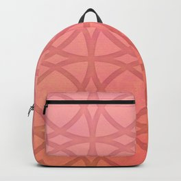 coral pink minimal pattern with geometric lines Backpack