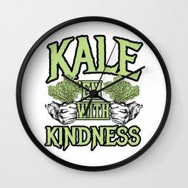 Kale 'em with kindness Kale Art for Vegans Light Wall Clock